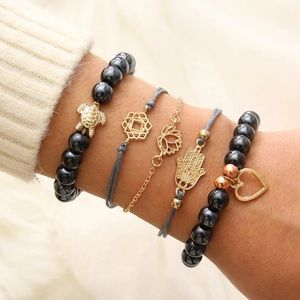 Turtle heart lotus black beads multi bracelet set